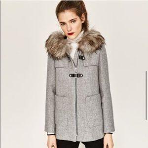 Zara Woman A line Duffle coat with faux fur hood